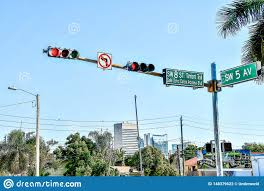 Blue Traffic Light In Florida Traffic Light Street Sign With Blue Sky Miami City