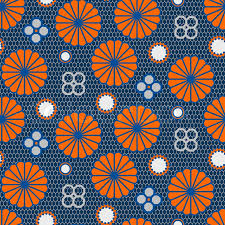 Japanese Pattern Beauteous Japanese Floral Vector Seamless Pattern In Blue And Orange Mesh