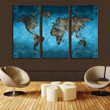 unframed 3 panels abstract blue map landscape hd  on panel wall art review with 3 panel canvas painting ocean vintage world map canvas print home
