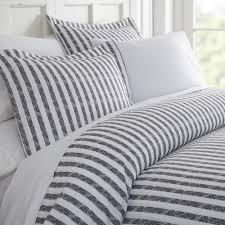rugged stripes patterned performance gray king 3 piece duvet cover set