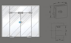 centre patch lock frameless glass door patch fittings punching processed with strike box