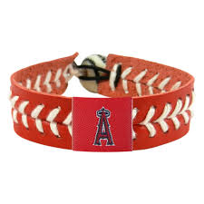 los angeles angels team color baseball bracelet mlb laa leather stitch