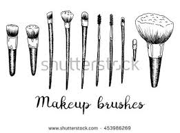 makeup brushes hand drawn black and white art isolated set with the inscription