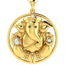 ganesha on sparkling leaves diamond pendant