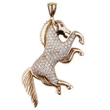 second hand9ct yellow gold cubic zirconia horse pendant 4156372