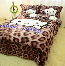 free leopard print comforter bedding set cute hello kitty full twin size kids character sheets