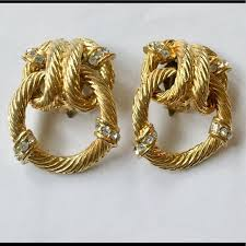 vine gold door knocker earrings
