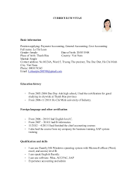 CURRICULUM VITAE Basic information Position applying: Payment Accounting,  General Accounting, Cost Accounting Full ...