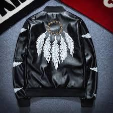 new men s casual fashion er jacket mens men s leather flight jacket collar stamp baseball jacket men