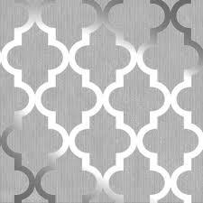 Patterned Wallpaper Awesome Henderson Interiors Camden Trellis Wallpaper Soft Grey Silver