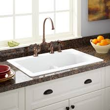 Kitchen Sinks Granite Composite 33 Fayette Double Bowl Drop In Granite Composite Sink Eggshell