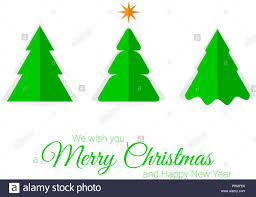 Paper Cut Christmas Trees Vector Christmas Greeting Card
