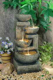 Large Granite Effect Tiered Bowl Water Feature With Lights H108cm Solar Water Features With Lights