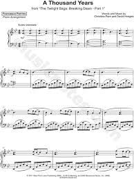 a thousand years piano sheet music