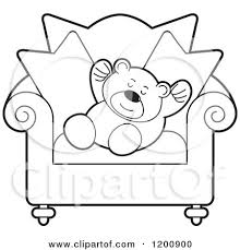chair clipart black and white. cartoon of a black and white teddy bear sleeping on chair - royalty free vector clipart by lal perera