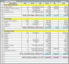 Excel Construction Estimate Template Project Estimation Cost