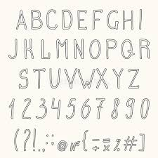 hand drawn grunge font hand drawn letters numbers vector illustration