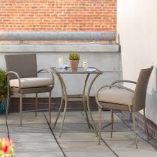 hampton bay posada 3 piece balcony height patio bistro set with gray cushions