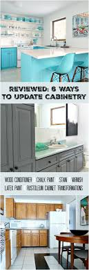 cabinet refinishing 101 latex paint vs stain vs rust oleum cabinet transformations vs varnish vs chalk paint vs wood conditioner
