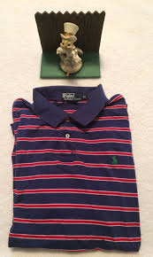 details about mens polo ralph lauren red white blue stripe rugby ss shirt xl minimal wear