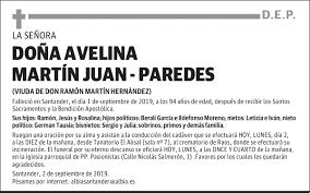 Esquela de DOÑA AVELINA MARTÍN JUAN - PAREDES : Esquela | Esquela en El  Diario Montañés
