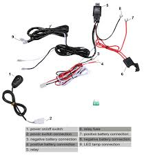 universal 12v 40a motorcycle fog light wiring harness kit loom for universal 12v 40a motorcycle fog light wiring harness kit loom for led work driving light bar fuse and relay switch in headlights from automobiles