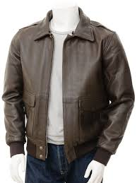 mens leather flight jacket in brown bolberry alternative