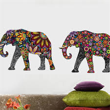 Small Picture Elephant Flower pattern Wall Sticker Removable Decal Home Decor