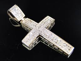 solid 10k rose gold aaa grade simulated diamond iced out diamond cross pendant