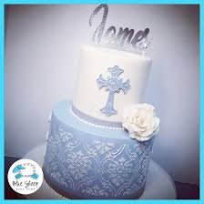Blue And White Lace Christening Cake Nj Blue Sheep Bake Shop