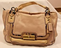 Coach Kristin Spectator Leather East West Zip Tote Bag 16810 Beige EUC RARE   458