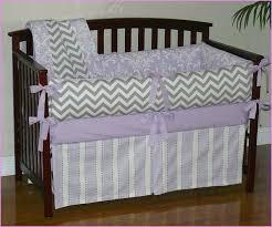 purple and gray chevron baby bedding
