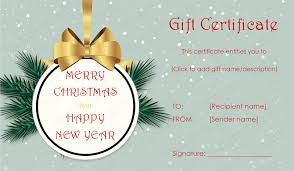 Christmas Present Gift Certificate Template Alanchinlee Com