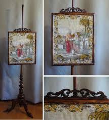 antique fireplace screen victorian fire screen original biblical needlepoint gany frame firescreen antique needlepoint