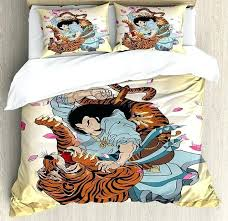 japanese duvet cover duvet cover set brave samurai and tiger clash turn into fl cherry blossoms