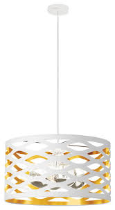 lazaro 4 light pendant with cutout drum shade white and gold