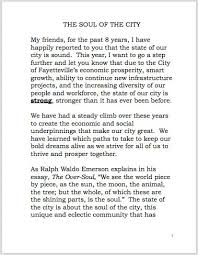 or delivers state of the city address   the full address