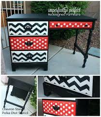 chevron painted furniture. Chevron Painted Furniture A Black Desk That Is Stenciled Using The Polka Dot Stencil And