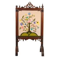 victorian fireplace screen embroidered fireplace screen century for at victorian beveled glass fireplace screen