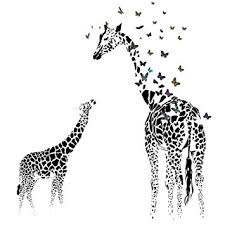 Giraffe Butterfly Silhouette Wall Sticker For Door Stairs Living Room Bedroom  Decor Woman Teenager Baby Girl