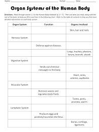 Body Systems Chart Organ Systems Of The Human Body Biology Worksheets Printable