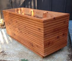 image of modern wood planter boxes