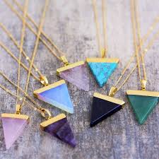 gemstone triangle pendant necklace