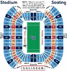 Titans Seating Chart With Rows Tennessee Titans