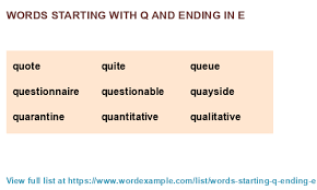words starting with q and ending in e