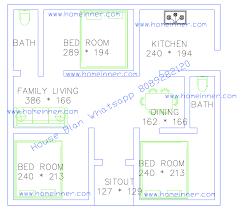 free 500 square feet 3 bed room single floor plan