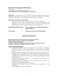 Sample Resume For Electrical Engineer In Philippines Resume