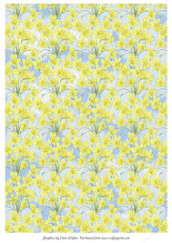Daffodil Paper Flower Pattern Daffodils Background Backing Paper Floral A4 Daffodil Sky Pattern