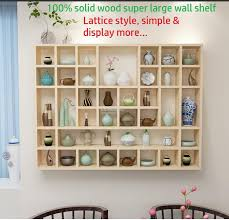 solid wood big wall shelves large lattice shelf wall decor grid rack