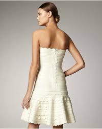 HERVE LEGER WHITE DRESS STRAPLESS 2012 BANDAGE DRESS